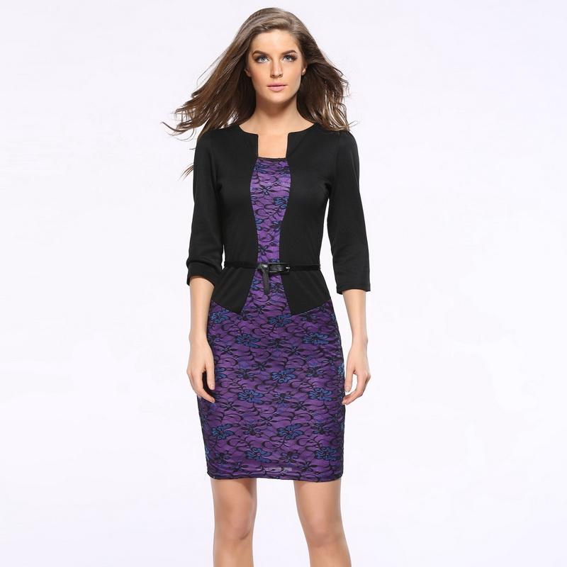 New Womens Elegant Faux Jacket One Piece Belted font b Tartan b font Lace Patchwork Wear