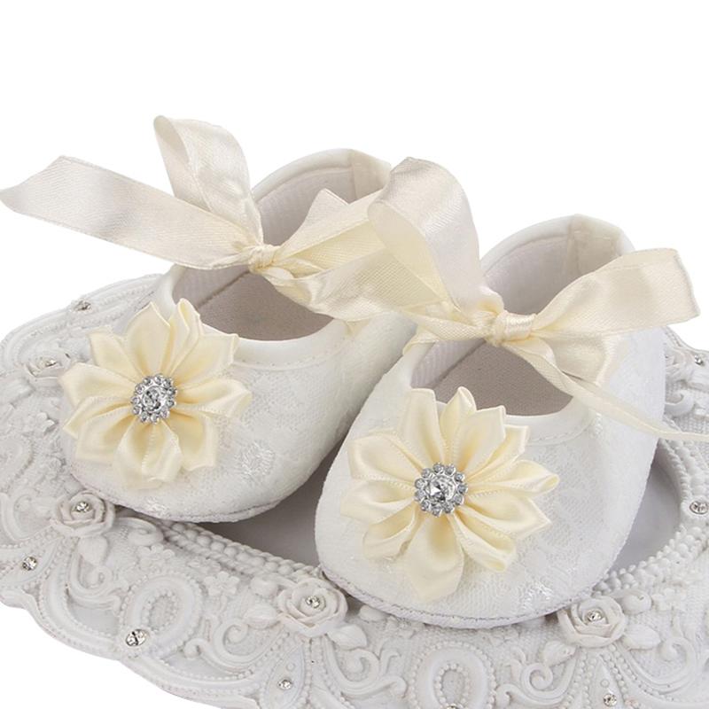 Christening Baby Baptism Flowers Shoes,Fashion toddler soft soled girl shoes,Cream Crib Shower Gift Ballerina Slipper #2X0284(China (Mainland))