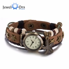 High Quality Leather Bracelet Watch Vintage Sea Star Watch Women Dress Watches Unisex Charm Bracelet Best Gift (JewelOra FSH203)(China (Mainland))