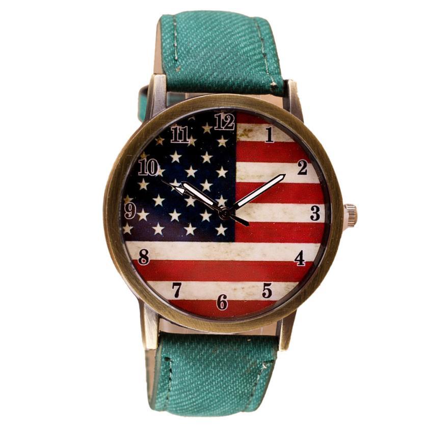 Гаджет  Newly Design Retro USA Flag Watch Unisex PU Leather Quartz Watches Oct8 None Часы