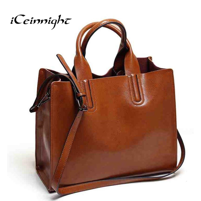 iCeinnight fashion women bag High quality oil pu leather shoulder bag female vintage luxury brand big tote with long belt black(China (Mainland))
