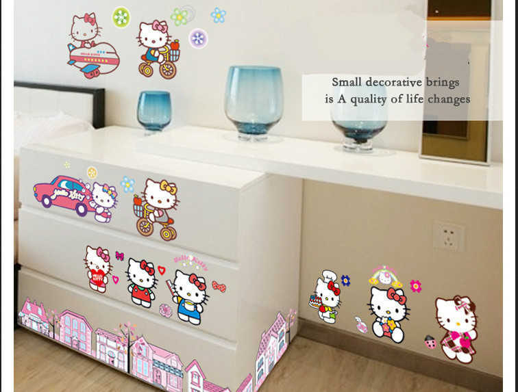 2015 NEW HOT!Free Shipping Cartoon Wall Stickers children room bedroom girl Whole KT cat hello Kitty stickers baby small gifts(China (Mainland))