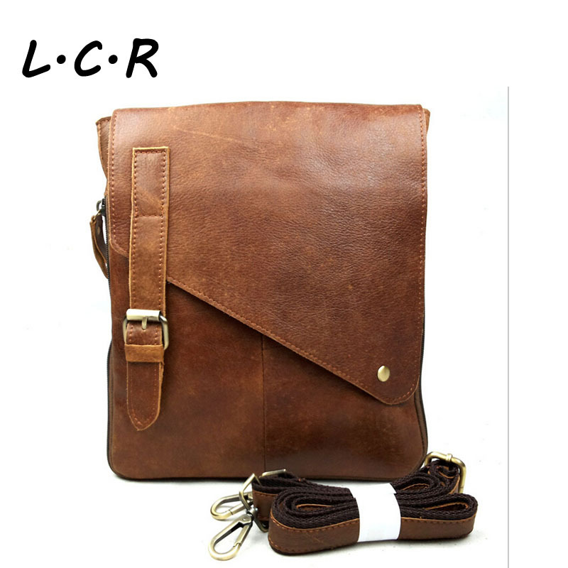LCR100% Genuine Leather men Messenger Bags, vintage fashion mens cross body bag brand design leather men bag L28140(China (Mainland))