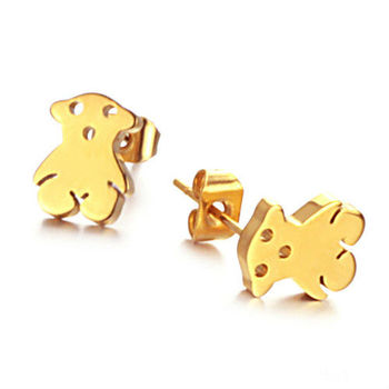 Silver & Gold Plated Earrings 18K Fashion Cute Teddy Bear High Polish Stainless Steel Stud Earrings Gift Wholesale Lots 5 pairs
