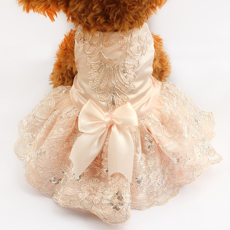 dreambows Embroidered Pink Dog Dresses Wedding Princess Dress For Dogs 6073009 Pet Skirt Clothes Supplies(China (Mainland))