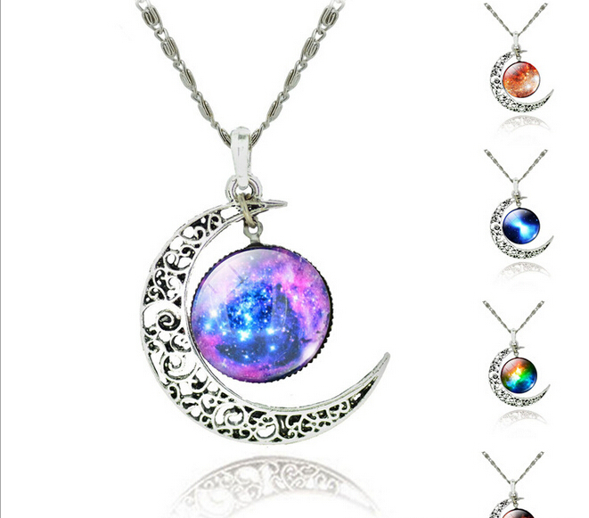 2016 top quality 2015 Fashion Galaxy Necklace Lovely Galaxy Cabochon Alloy Hollow Moon Pendant Silver Chain Necklace Best Gift(China (Mainland))