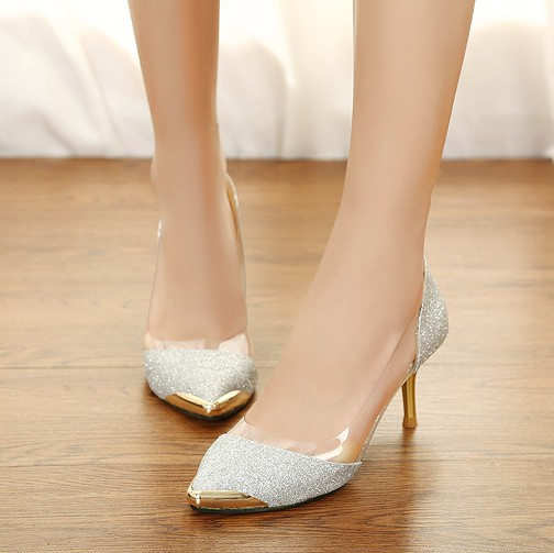 2014 new summer fashion pointed-toe transparent high heels silver glitter pumps gold platform pumps(China (Mainland))