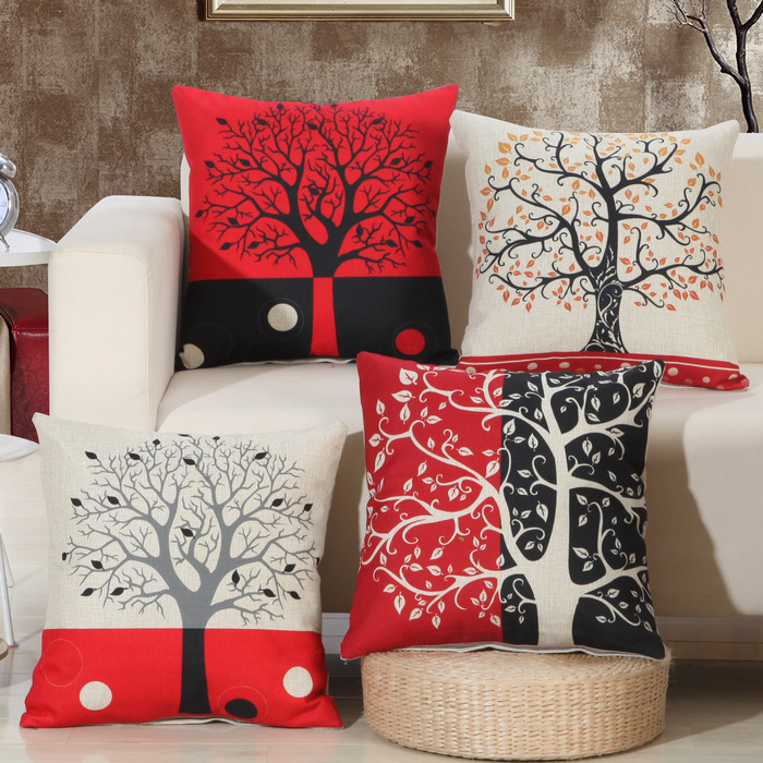 1Pcs Black Red Tree Pattern Cotton Linen Throw Pillow Cushion Cover Home Decoration Sofa Bed Decor Decorative Pillowcase 40136(China (Mainland))