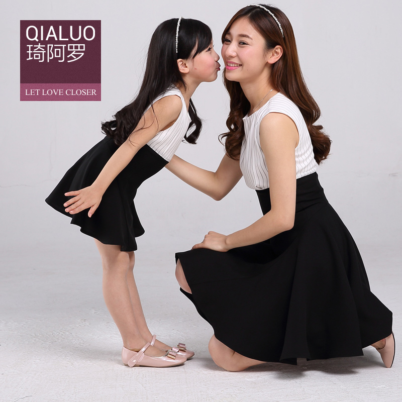 015 New Rushed Girls Clothes Children Clothing Loaded Parent-child Summer Mother And Daughter Sleeveless Dress Of Mosaic Korean(China (Mainland))