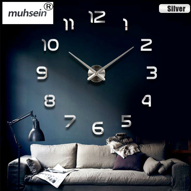 2017 New Home decoration wall clock big mirror wall clock Modern design large size wall clocks.diy wall sticker unique gift free(China (Mainland))