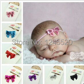2014 New Hot selling wholesale Baby Girl's ribbon Headbands sequined bow stretch sequin Hair Acessories Headwear free shipping(China (Mainland))