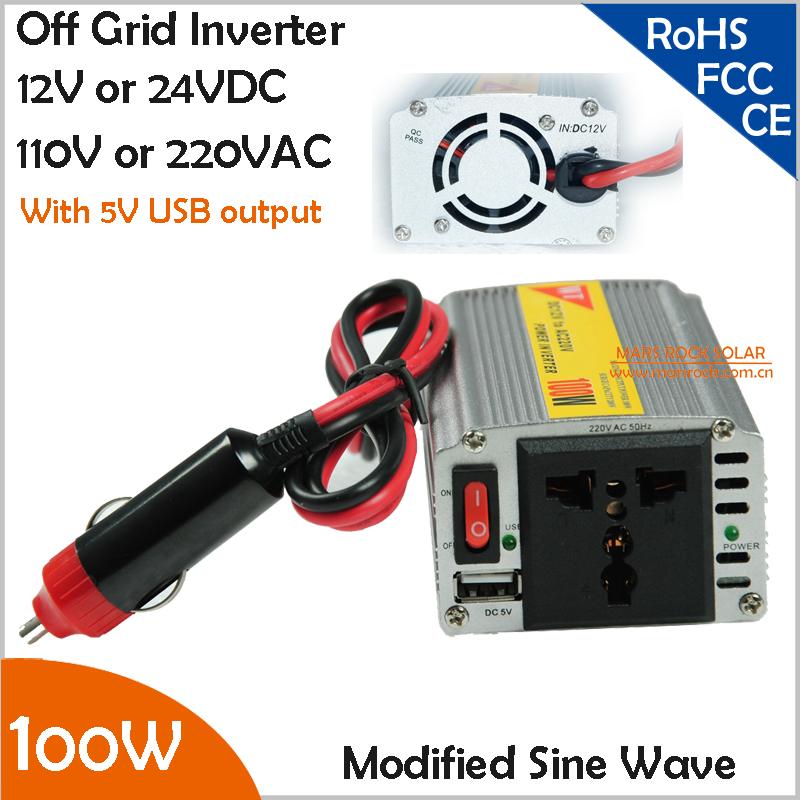 100W off grid modified sine wave inverter , 12V or 24V DC to AC 110V or 220V small power inverter with USB 5V 500mA(China (Mainland))