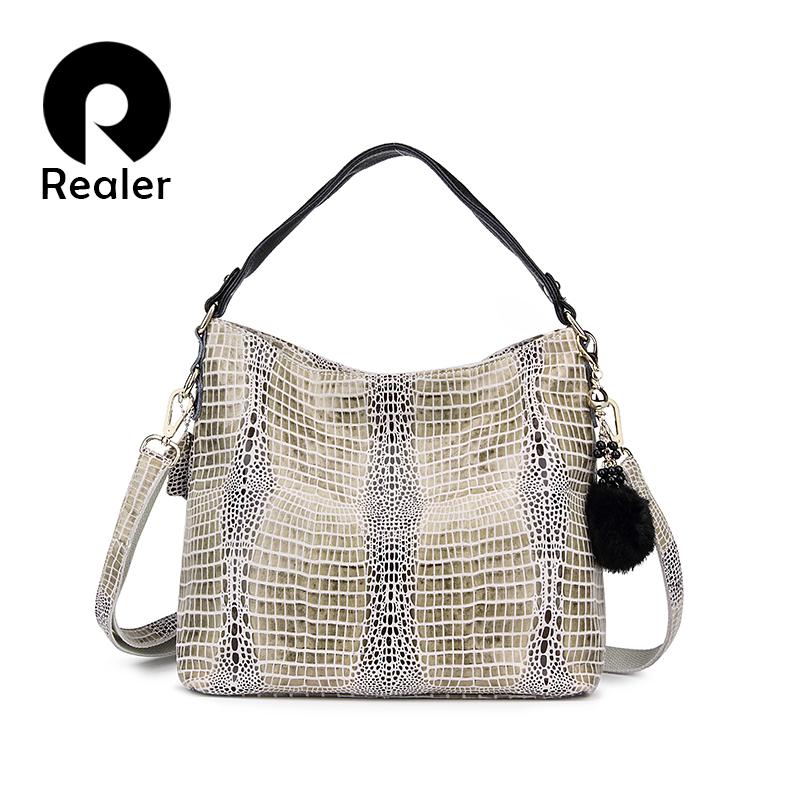 Realer 2016 Women Genuine Leather Crocodile Bags Shoulder Bag With Fur Ball Embossed Handbag Messenger Bags For Ladies(China (Mainland))