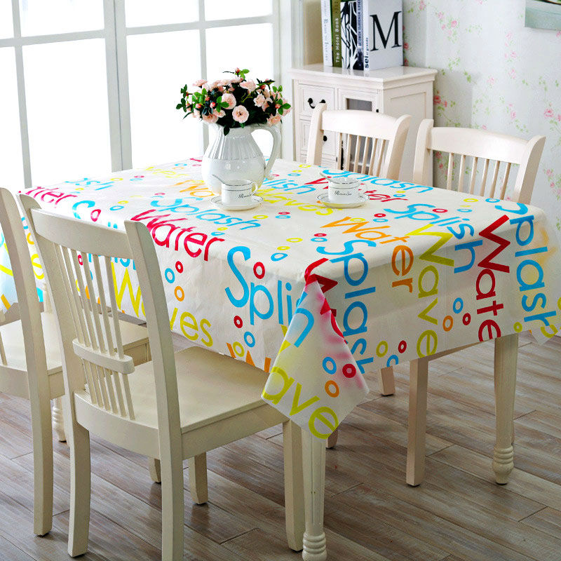 PVC Vinyl Tablecloth Colorful Fashion Rectangular Wipe Clean Oilcloth Waterproof Kitchen Dining Tablecover Protector(China (Mainland))