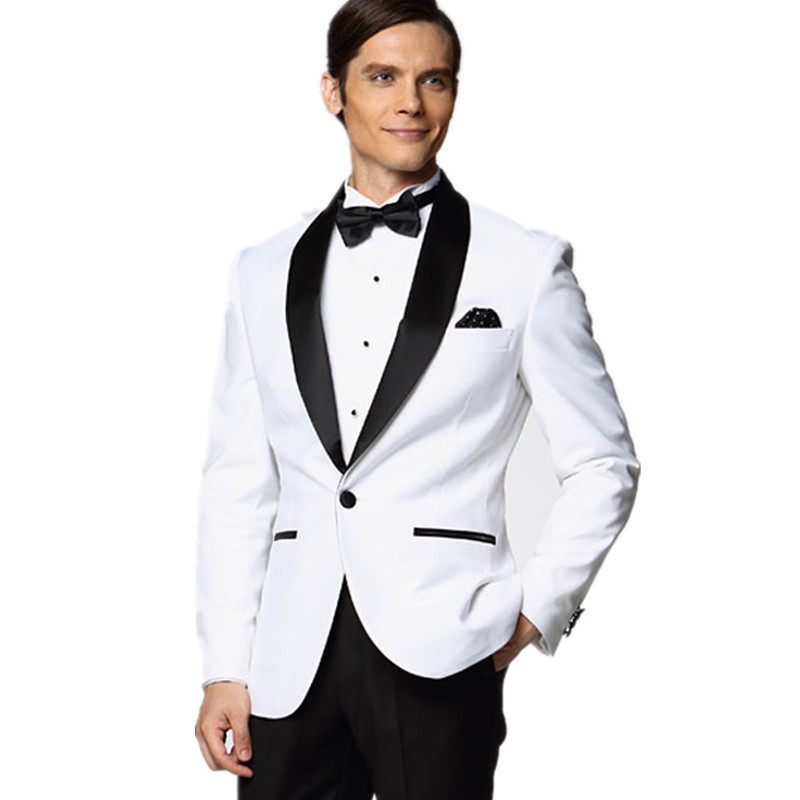 2016 New White Jacket With Black Satin Lapel Groom Tuxedos Groomsmen Best Man Suit Men Wedding Suits (Jacket+Pants+BowTie)(China (Mainland))