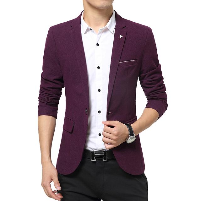 2016 весной мужской пиджак бренд одежды одной кнопки с длинным рукавом блейзер уменьшают ...