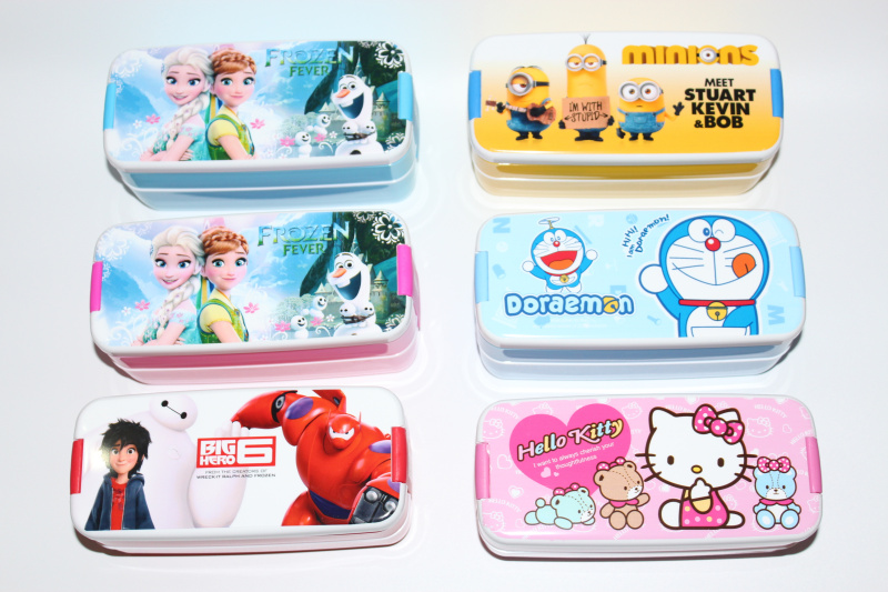 Microwaveable Two Layer Cartoon Plastic Lunch Meal Bento Box Case Dinner Set Food Container With Spoon Student Children Camping(China (Mainland))