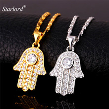 Buy Hot Hamsa Hand Necklace Gold Color Cubic Zirconia Pendants & Necklaces Women/Men Link Chain Amulet Hand Fatima Jewelry P1664 ) for $6.99 in AliExpress store