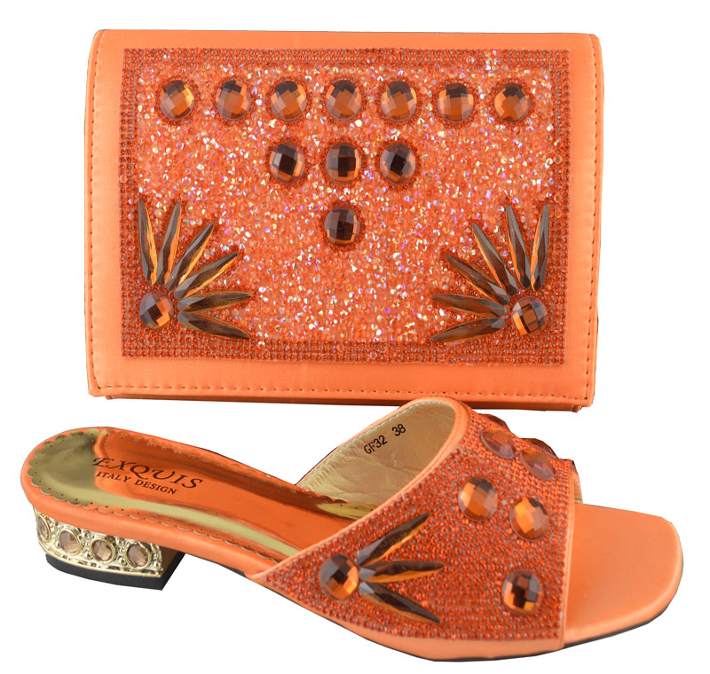 Newest Fashion Dress Shoes And Bags African Shoes Matching Bag Set Nice Looking High Heels,orange color in stock GF32(China (Mainland))