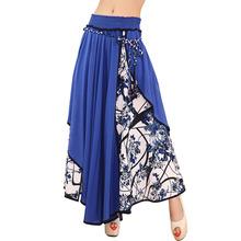 Fashion Hight Waist Maxi Skirts Womens Summer New 2017 Casual Print Floral Patchwork Asymmetric Pleated Big Hem Lady Long Skirt(China (Mainland))