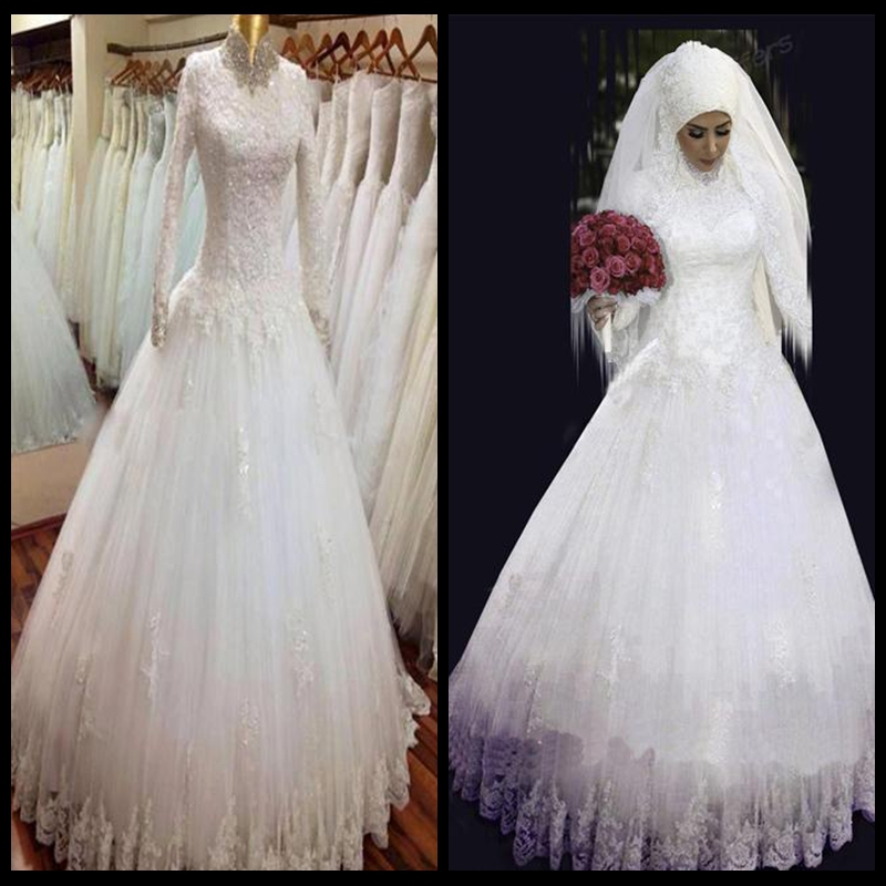 2015 long sleeve muslim wedding dresses with hijab lace for Muslim wedding dress photo