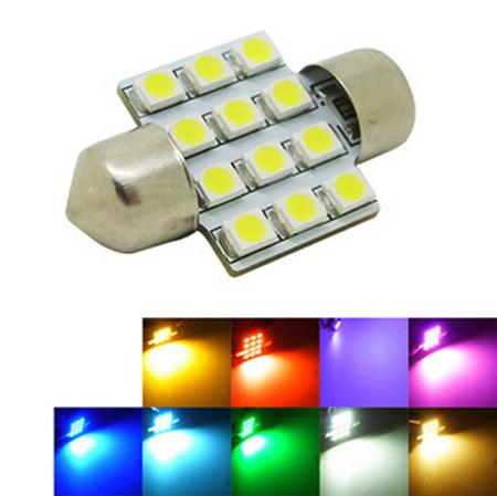 2 x Car Led 31mm Blue 12 SMD 3528 Festoon Dome Light Lamp 3021, DE3022 Car Bulbs Door Led Bulb Reading Lights Red White Warm(China (Mainland))
