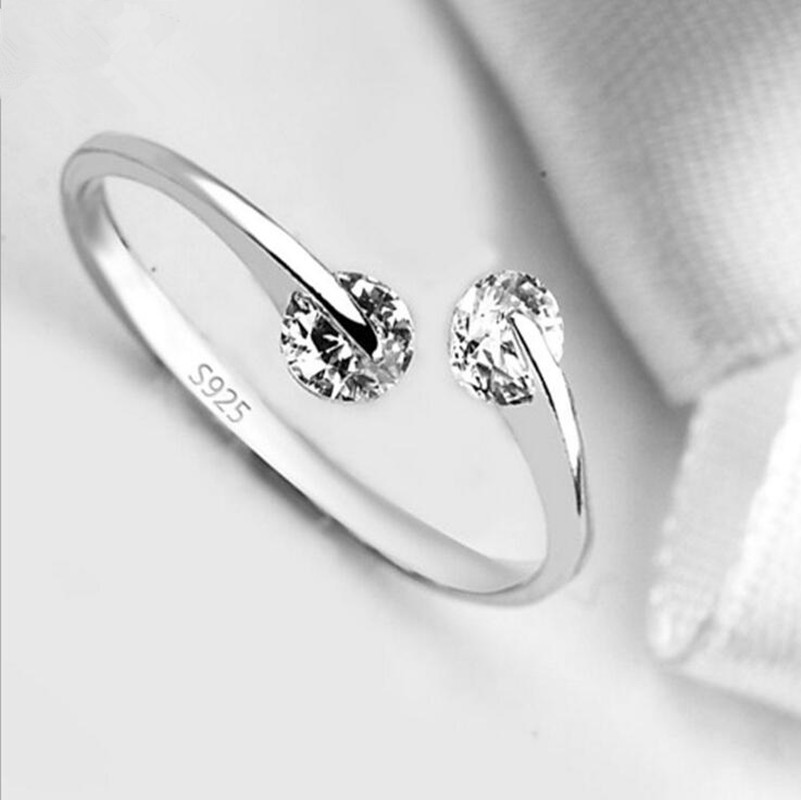 2016 OL Style Design Twin CZ Diamond Silver Plated Engagement/Wedding Rings For Women Austrian Crystal Double Crystal Rings(China (Mainland))