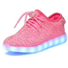 New Arrival Breathable Mesh Shoes With Lights For Kids USB Charging Led Light Up Shoes Boys Girls Yeezy Shoe Glowing Sneakers(China (Mainland))