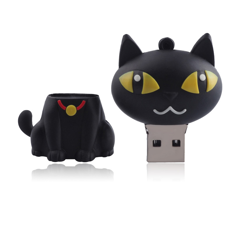 Cartoon Cat Silicone USB Flash Drive Pen Drive 4GB 8GB 16GB 32GB 64GB USB 2.0 Pendrive Memory Stick USB Stick(China (Mainland))