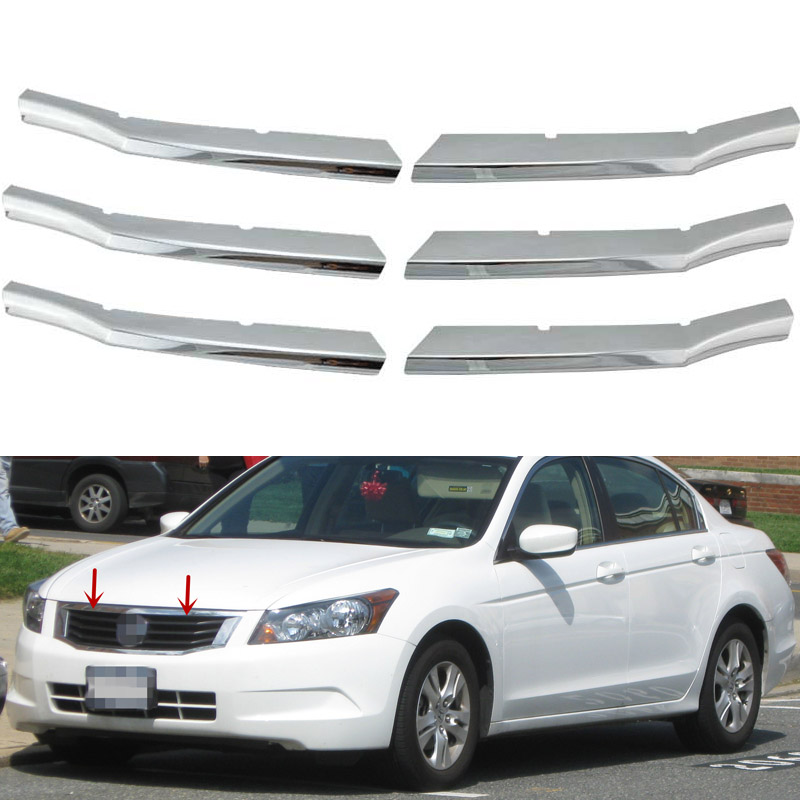 For 2008-2010 Honda Accord 4-Door Sedan ABS Triple Chrome Center Bumper Grill Cover Car Decorating Sticker(China (Mainland))