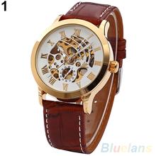 Mens Roman Numerals Stainless Steel Automatic Mechanical Skeleton Sport Wrist Watch 1QJO 2BK3
