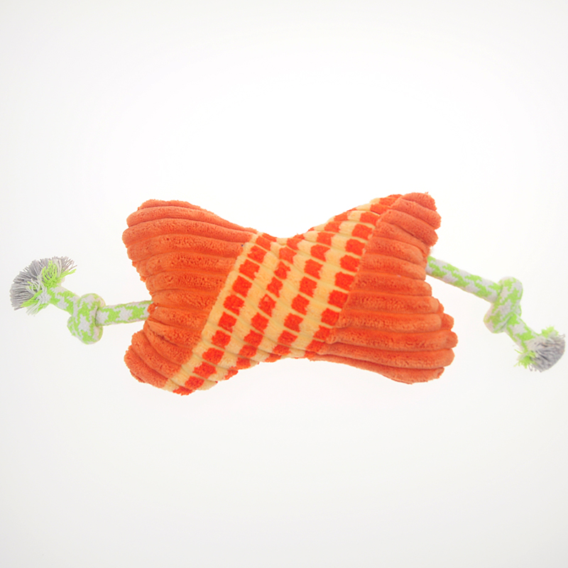 Lovely Orange Stripe Short Plush Bone Shape Dog Toy Corduroy Rope Pet Production For Large Dogs Chewing Squeaky Bone Toys P2001(China (Mainland))