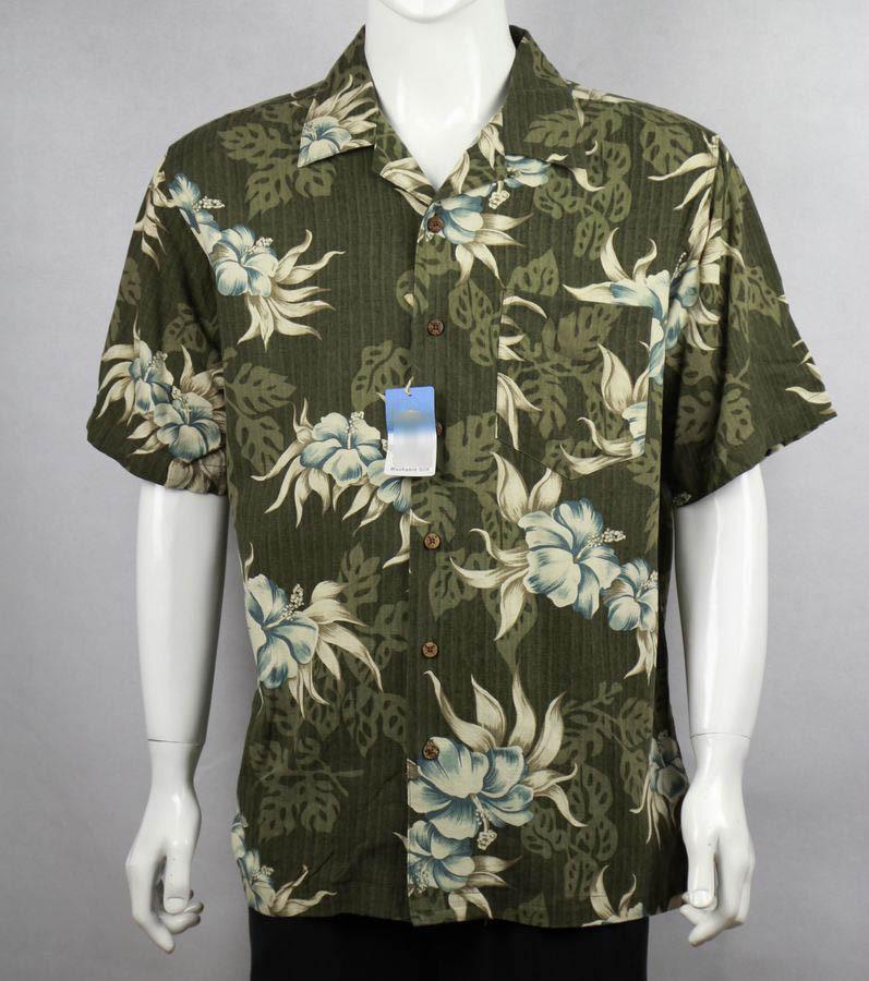 brand 100% silk hawaiian summer holiday coconut tree floral print men big size plus size free shipping(China (Mainland))