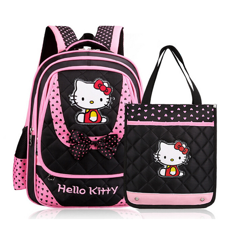 Hello kitty cartoon school bags cute bowknot princess girl backpack female child/kid school backpacks (grade 4~6)(China (Mainland))