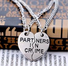 Wholesale 2PC/Set Partners In Crime Puzzle Party Women Men Charm Personalized Gift  Friend Letter Necklace Pendant Friendship(China (Mainland))