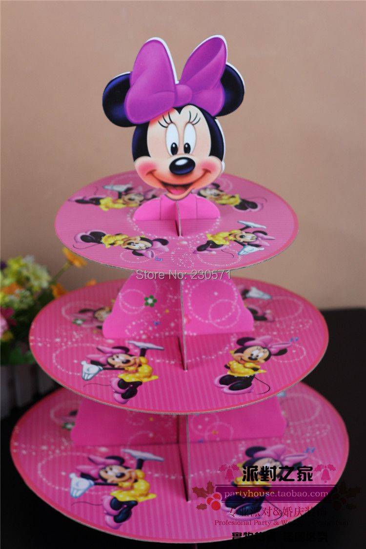Minnie Mouse Party Cake Stand Holder Cardboard Paper for Kids Birthday Party Decoration Supplies(China (Mainland))