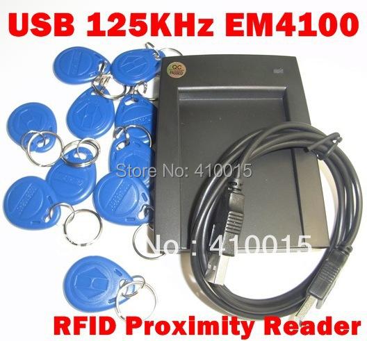 USB 125KHz EM4100 RFID Proximity Reader +10 Keyfobs(China (Mainland))
