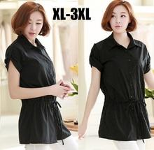 2015new summer women short sleeve OL commuter shirt female turn down collor blouse casual black shirt loose elegant topsXXXL1676