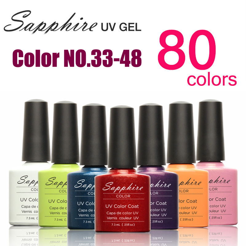 2015 Brand New Sapphire 7.3ML Soak Off UV Gel Polish BASE TOP COAT Primer Nail Art Color Foundation Cleaner plus NO.33-48(China (Mainland))