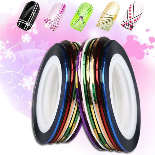 Fantastic 10 Roll Mix Color Metallic Nail Art Tape Lace Line Strips Striping Decoration For UV Gel Polish(China (Mainland))