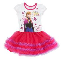 Summer Baby Girls Dress Cartoon Elsa Dress Girls Princess Party Dress Cotton Short Lace Layered Dress for Children Girl Clothes