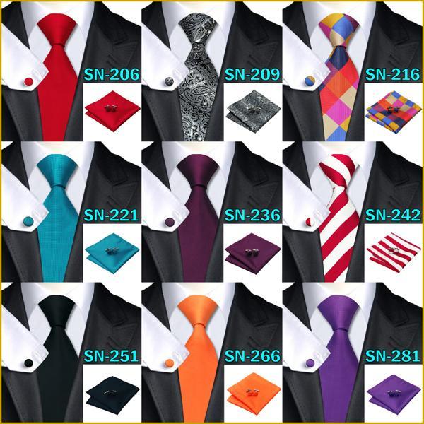 40 Style Tie hanky cufflink Sets 2015 Fashion 100 Silk Neckties Ties for mens gravata For