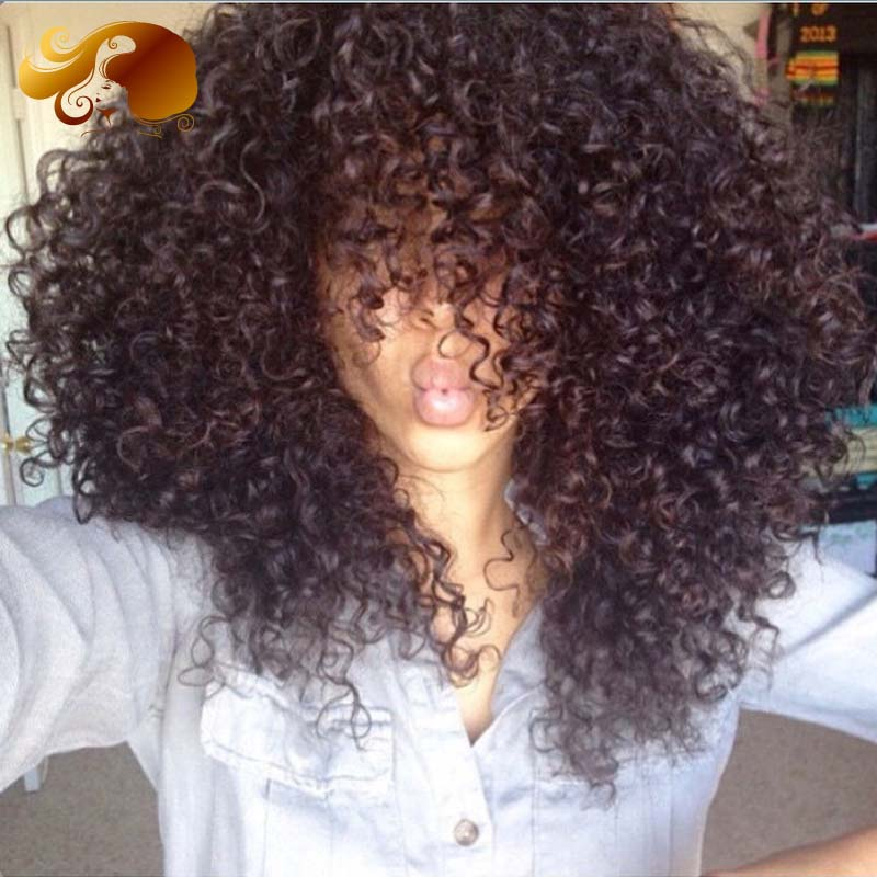 Фотография Virgin Peruvian Lace Front Human Hair Wigs Afro Kinky Curly Glueless Full Lace Human Hair Wigs For Black Women Bleached Knots