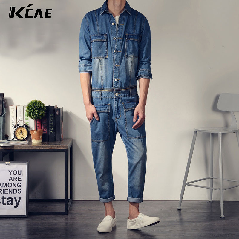 Фотография Male Slim Cotton plus size two piece Removable denim bib pants men