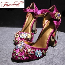 2016 new spring summer woman rhinestone high heels shoes wedding shoes bridal red purple lace platform party shoes for women(China (Mainland))