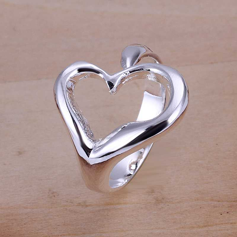 Free Shipping Lose Money Promotions! silver plated rings for men Opening Heart prices in euros 100% Hand Madeball(China (Mainland))