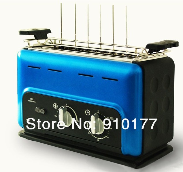portable stainless steel vertical smokeless electric bbq skewer/ skewers grill machine home indoor,meat roaster ,blue 035(China (Mainland))