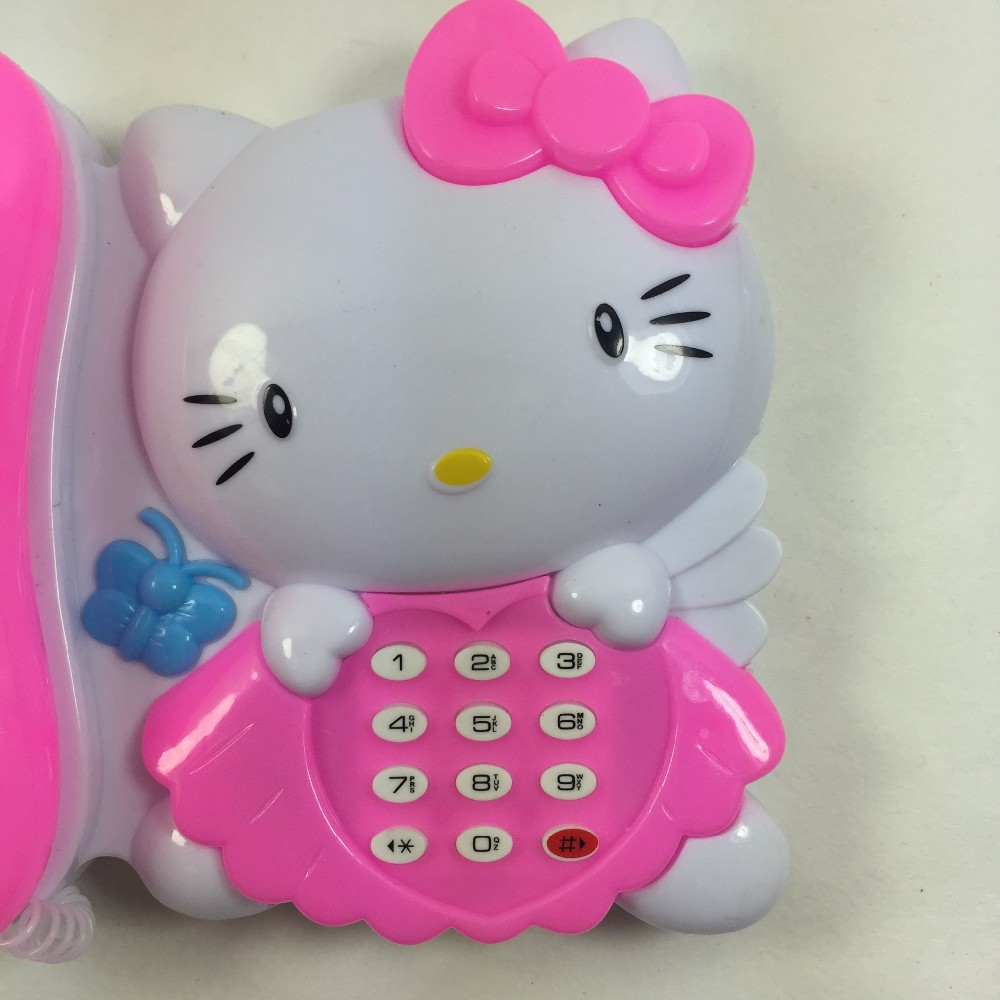 1PC LED KT Cat Phone Toys Flashing Music Plastic Electronic Telephone Toy Kids Light Up Learing TOY W106