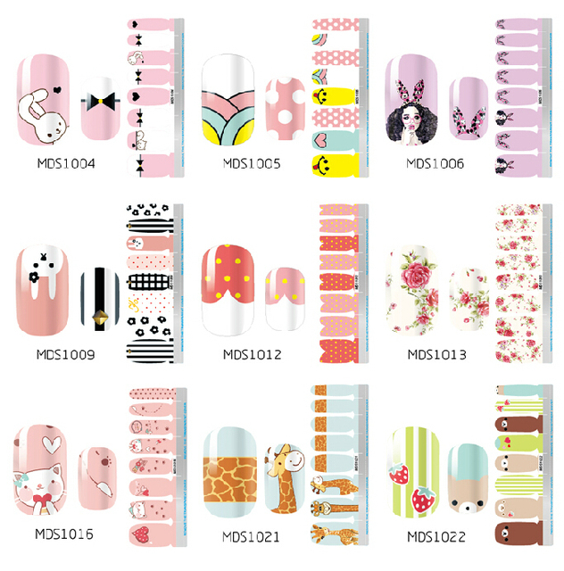 Newest Melodi Nail Patch Water Transfer Nail Sticker Nail Art Decorations for Nails Finger Designs 5set /lot Free Shipping