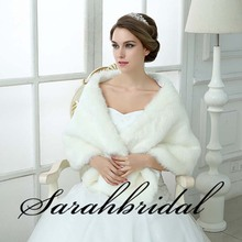 Sarahbridal 2016 splendida giacca da sposa wraps faux fur bianco avvolge cappotto nuziale per la cerimonia nuziale party winter dress 17013(China (Mainland))